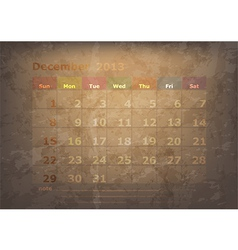 antique calendar of December vector image
