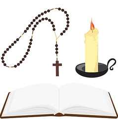 Bible rosary beads and candle vector image vector image