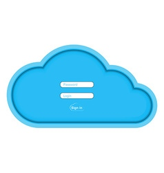 Blue paper cloud with fields for entering the vector