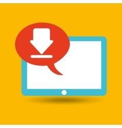 blue tablet cartoon download design vector image