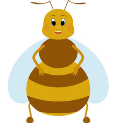 cartoon fat honey bee character vector image vector image