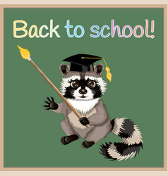 cartoon raccoon back to school vector image vector image