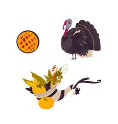 farm hen turkey pumpkin pie and cornucopia vector image
