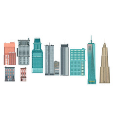 flat buildings architecture icon set vector image