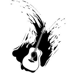 Grunge guitar paint splash vector