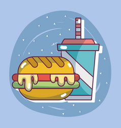 Hamburger with soda in the plastic cup vector
