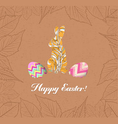 happy easter eggs and bunnys with leaves greeting vector image vector image