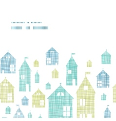 Houses blue green textile texture horizontal frame vector