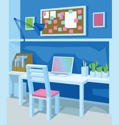 Interior of workplace in cartoon style vector