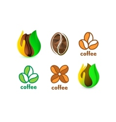Isolated abstract coffee bean logo set eco vector