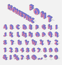 isometric alphabet typerface characters symbols vector image