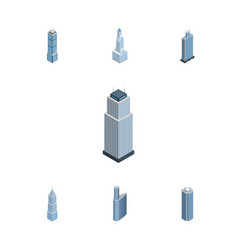 Isometric construction set of skyscraper exterior vector
