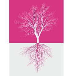 Magic bare tree with roots vector
