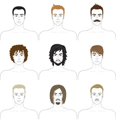 Men faces set vector