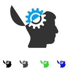 Open mind gear flat icon vector