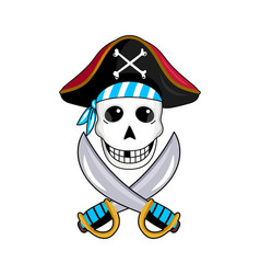 Pirate sign with skull and crossed swords vector