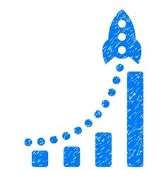 Rocket success bar chart grainy texture icon vector