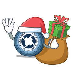Santa with gift 0x coin mascot cartoon vector