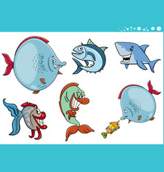 Sea life fish characters collection vector