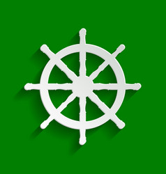 Ship wheel sign paper whitish icon with vector