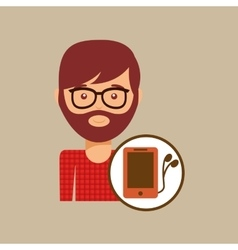 Smartphone and headphones man hipster vector