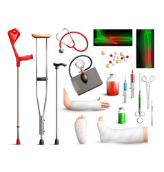 Trauma surgery realistic set vector