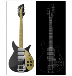 vintage guitars vector image vector image