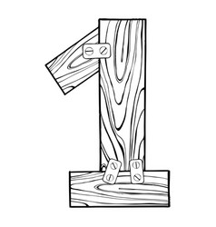 wooden number 1 engraving vector image