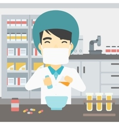 Pharmacist preparing medication vector