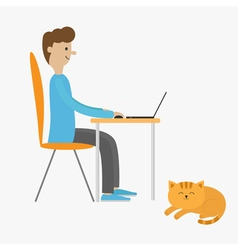 Profile man at desk with leptop Guy working on vector image