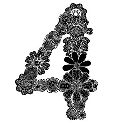 Hand drawn floral number 4 vector