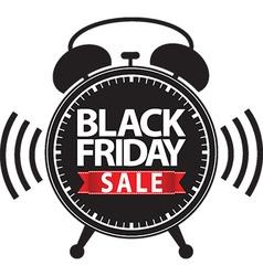 Black friday big sale alarm clock black icon with vector