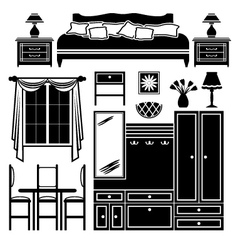 Set of icons of furniture vector