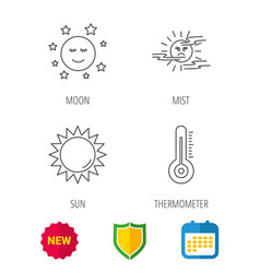 thermometer sun and mist icons moon night vector image