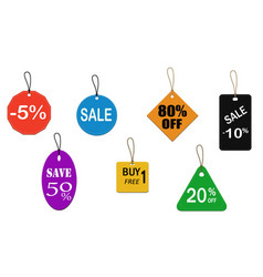 Seven color price tags vector