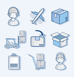 Delivery logistic transportation tools services vector