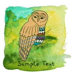 Hand drawn owl on watercolor background vector
