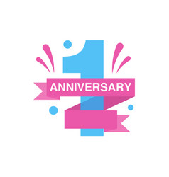 1st anniversary colored logo design happy holiday vector