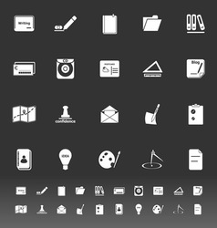 Writing related icons on gray background vector