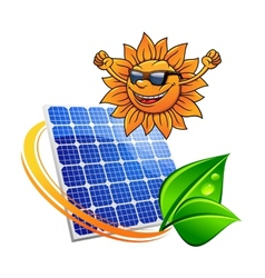 Trendy sun with a solar photovoltaic panel vector