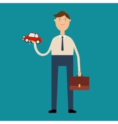 Man-the seller holds in one hand a car and in vector
