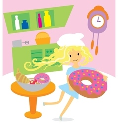 Girl cooking sweets and desserts for the holiday vector