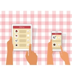 Ordering food using gadgets vector