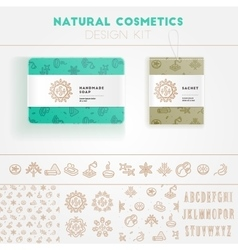 Natural cosmetics design kit vector