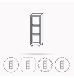 Empty shelves icon shelving sign vector