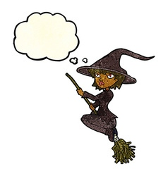cartoon witch riding broomstick with thought vector image