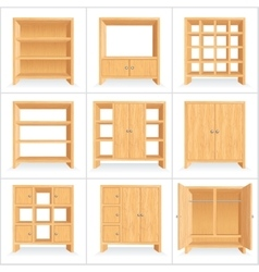 Wooden wardrobe cabinet bookshelf vector
