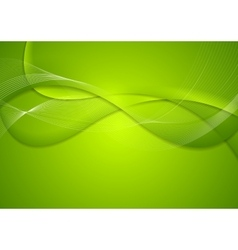 Abstract green wavy bright background vector