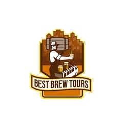 Bartender Pouring Beer Keg Cityscape Crest Retro vector image