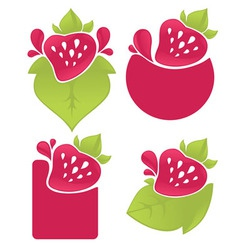 berry stickers vector image vector image